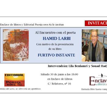 PRESENTACIÓN DE FURTIVO INSTANTE. 30 de Junio de 2018 a las 19h. Librería Enclave de libros.